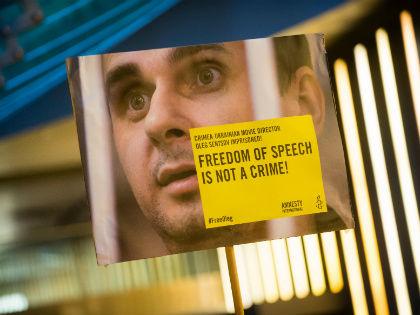 Плакат Amnesty International за освобождение Олега Сенцова на 66-м Берлинском кинофестивале // Global Look Press