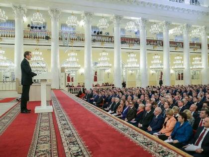 Спикер Госдумы Сергей Нарышкин выступает перед членами ГД и СФ //  Государственная дума