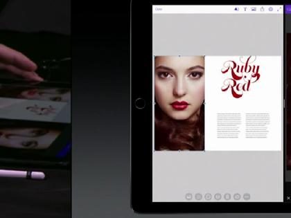 Девушка на экране планшета — Кристина Литвинова // Кадр трансляции презентации Apple