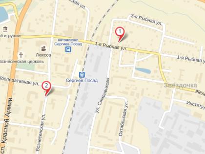 Территориально пострадавшие здания и заведения находятся в центре Сергиева Посада // Яндекс.Карты