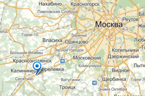 Рейсовый автобус Брянск — Москва ехал в сторону столицы, когда произошло столкновение // Яндекс.Карты