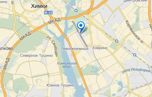 Пожар на территории строительного комплекса на Левобережной улице в САО города Москвы произошел в районе 4 часов утра 19 января // Яндекс.Карты