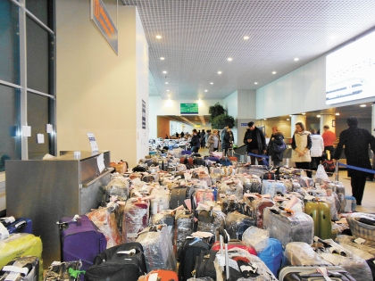 Горы багажа скопились в столичных аэропортах // автора