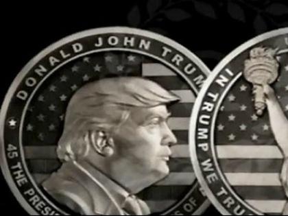 Монету с изображением нового президента США на одном из оружейных предприятий Златоуста отлили в серебре // Стоп-кадр YouTube