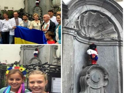 Писающего мальчика одели в украинский национальный костюм // Twitter представительства Украины в ЕС