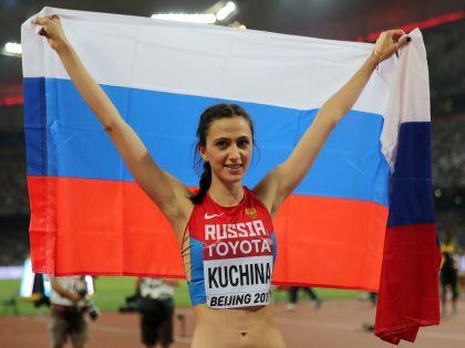 золотая медалистка соревнований по прыжкам в высоту Мария Кучина // Michael Kappeler/dpa