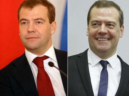 Дмитрий Медведев до (слева) и после (справа) стрижки // Russian Look