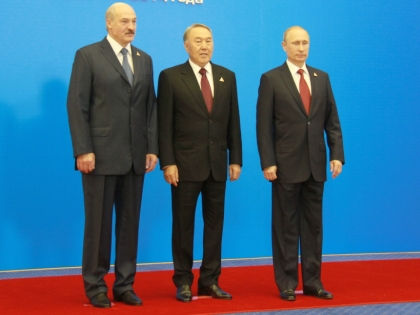 Владимир Путин, Александр Лукашенко и Нурсултан Назарбаев // Lu Jingli/Global Look