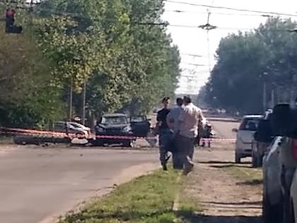 Взорванная машина главы ЛНР Игоря Плотницкого // Стоп-кадр YouTube
