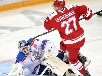 Эдгарс Масальскис отразил 44 броска // Официальный сайт ХК «Спартак»