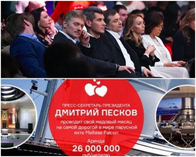Во взятке в виде яхты Навальный обвинил владельца группы «Сумма» Зию Магомедова (на верхнем фото — справа от Пескова) // Скриншот сайта Алексея Навального