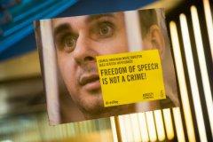 Плакат Amnesty International за освобождение Олега Сенцова на 66-м Берлинском кинофестивале