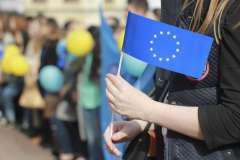 """Украинские студенты на акции """"Европа и Украина - вместе сильнее"""""""