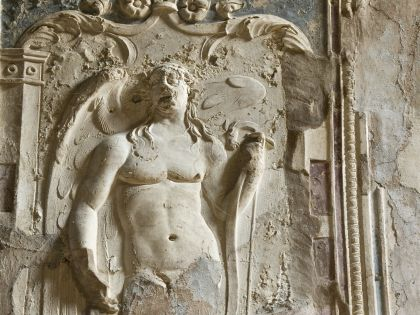 Фрагмент древней фрески в Помпеях