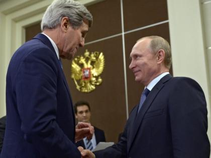 Джон Керри и Владимир Путин в Сочи