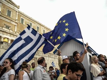 Акция протеста в Афинах против выхода Греции из еврозоны