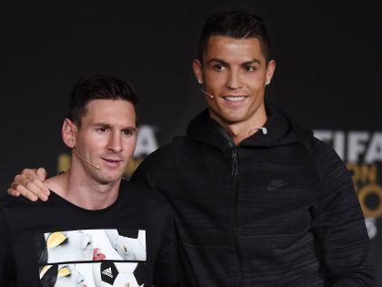 Лионель Мессии и Криштиану Роналду перед церемонией вручения приза «Золотой мяч ФИФА»