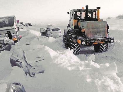 Последствия бурана на трассе Оренбург – Орск