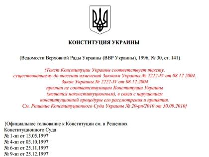 Текст Конституции Украины