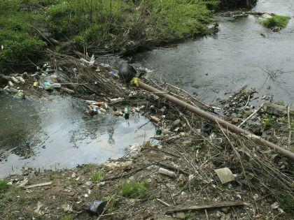 Грязная река с мусором