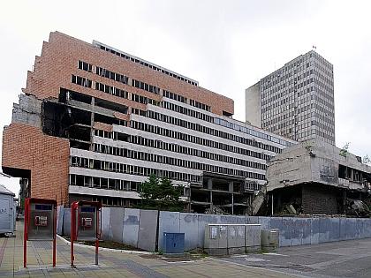 Разрушенное во время бомбардировок здание в Белграде