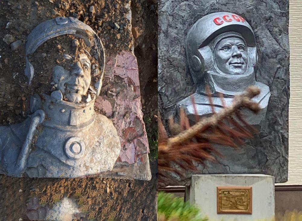 На Сахалине вернули барельеф Гагарина, который был выкинут на свалку для строительства заправки