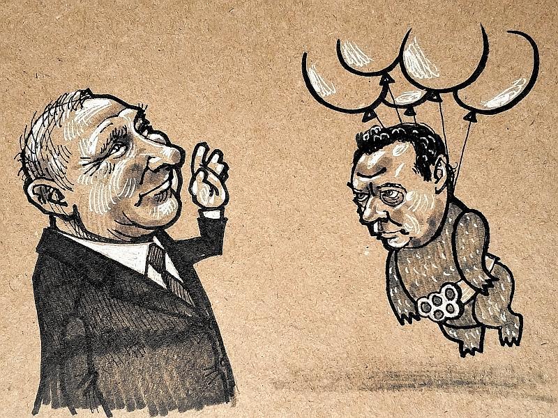 Карикатура на Путина и Медведева // рисунок: Камиль Бузыкаев