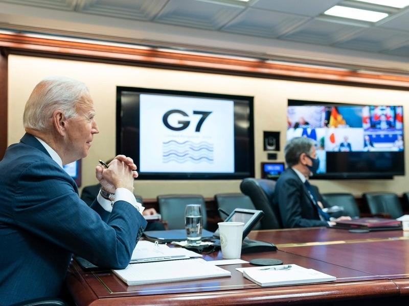 Джо Байден в ходе онлайн-встречи лидеров стран G7 // Фото: Global Look Press