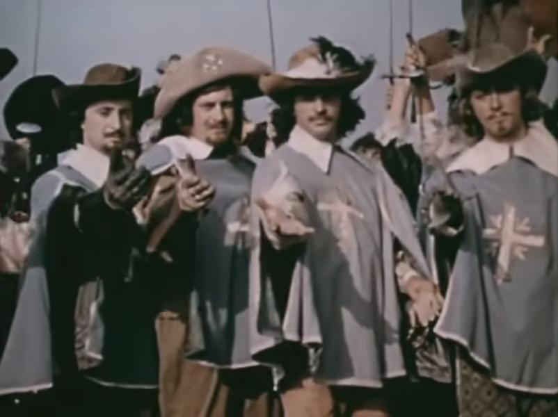 Вениамин Смехов (Атос), Валентин Смирнитский (Портос), Михаил Боярский (д'Артаньян) и Игорь Старыгин (Арамис)