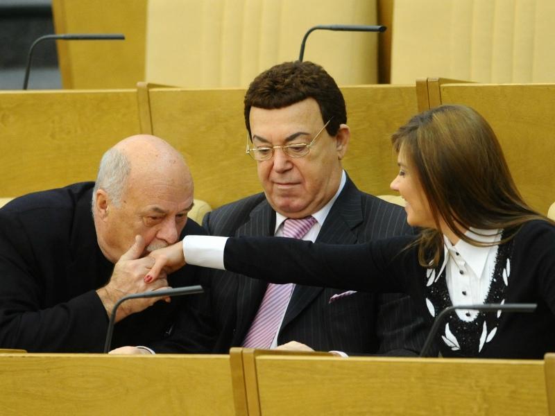 С коллегами по Думе Кобзоном и Кабаевой