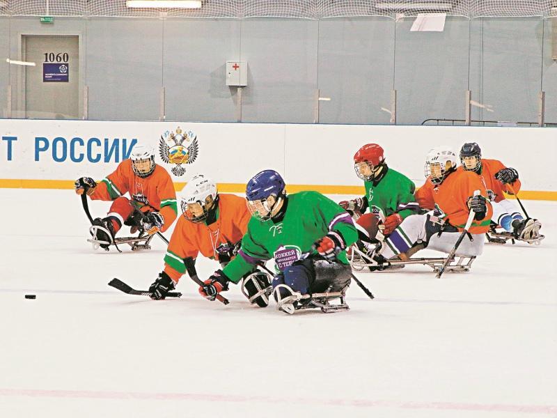 Играть на таких санках намного сложнее, чем на коньках // Фото: Виктория Савицкая / «Собеседник»