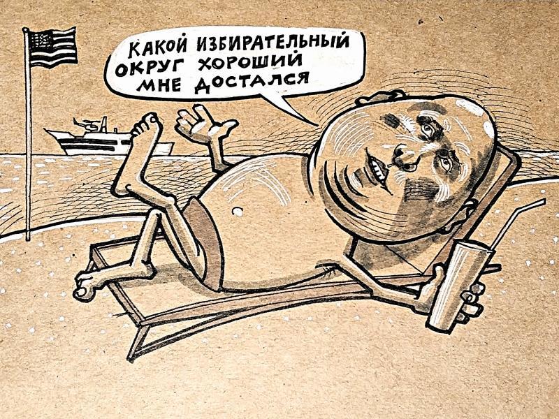 Карикатура на Игоря Лебедева // Рисунок: Камиль Бузыкаев