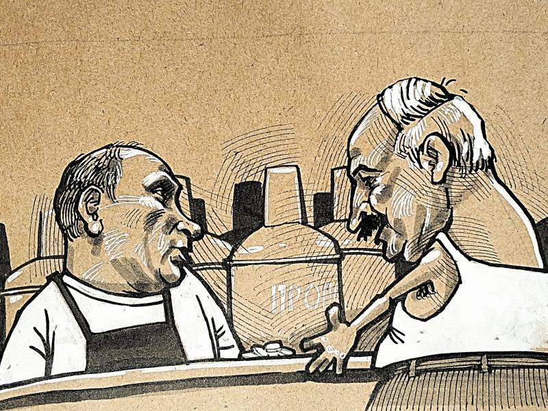 Путин и Лукашенко // рисунок: Камиль Бузыкаев