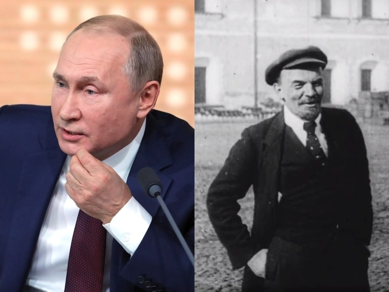 Слева: Владимир Путин // фото: Global Look Press; справа: Владимир Ленин // кадр из фильма «Годовщина революции» (реж. Дзига Вертов)