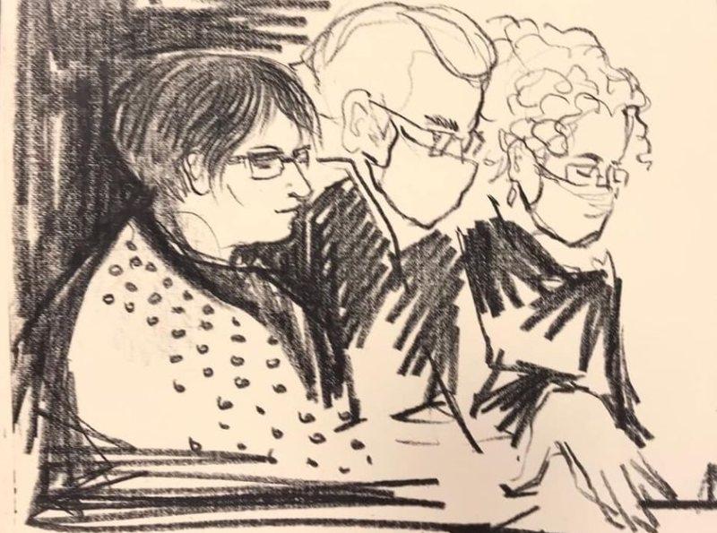 Юлия Галямина и ее адвокаты // Рисунок: Маша Березина