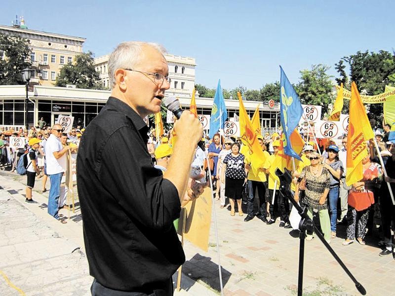 На одном из митингов против повышения пенсионного возраста // фото: личный архив Олега Шеина