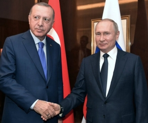 Президент Турции Реджеп Тайип Эрдоган и президент РФ Владимир Путин на конференции по ливийскому вопросу. Берлин, 19 января 2020 года. Фото: President of Russia / via Globallookpress.com