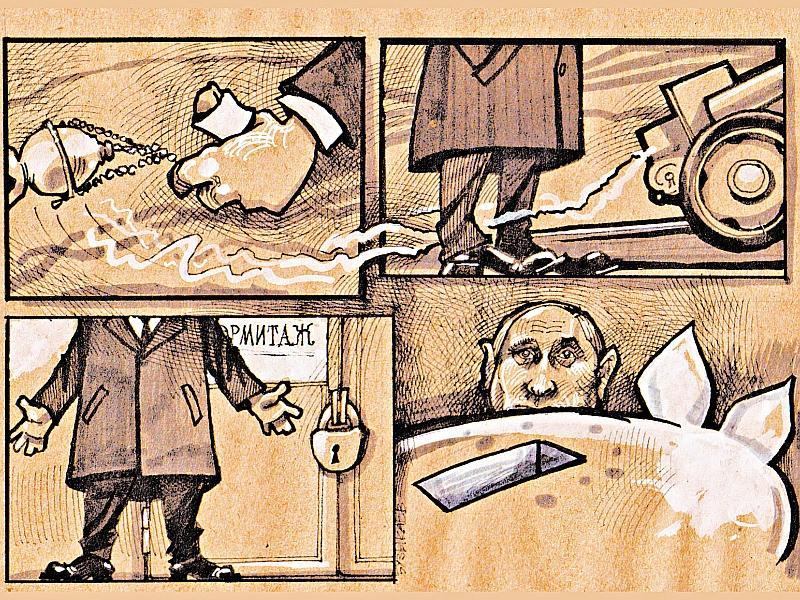 Карикатура на Владимира Путина // рисунок: Камиль Бузыкаев