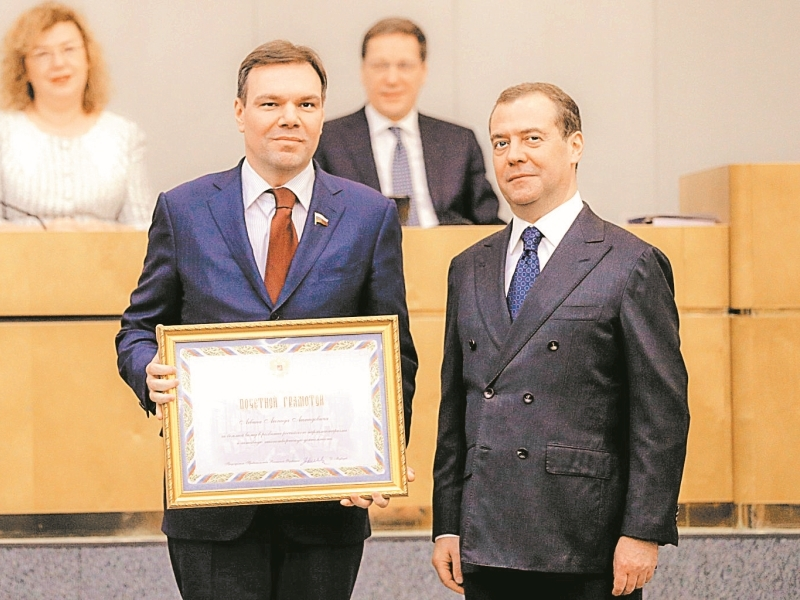 Леонид Левин (на фото слева от Медведева) – почетный «киприот»