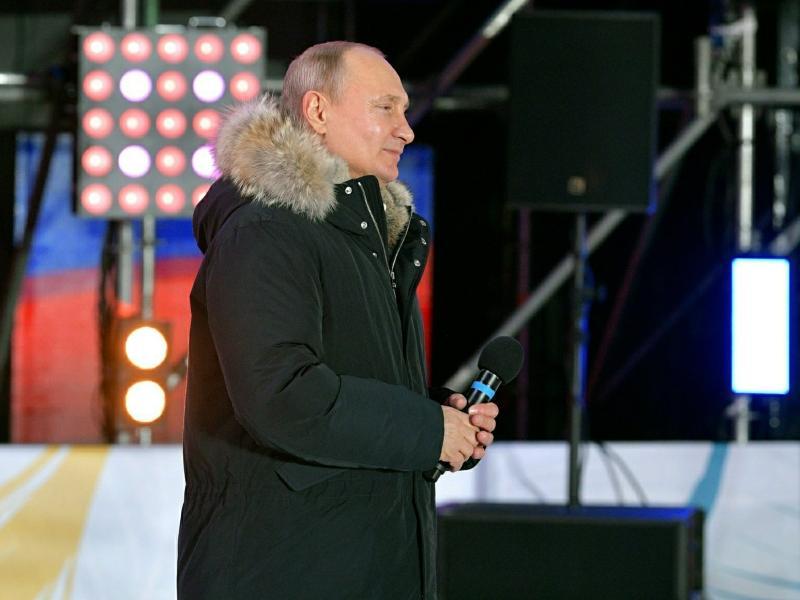 Владимир Путин на митинге в Москве 18 марта 2018 года // фото: kremlin.ru / Global Look Press