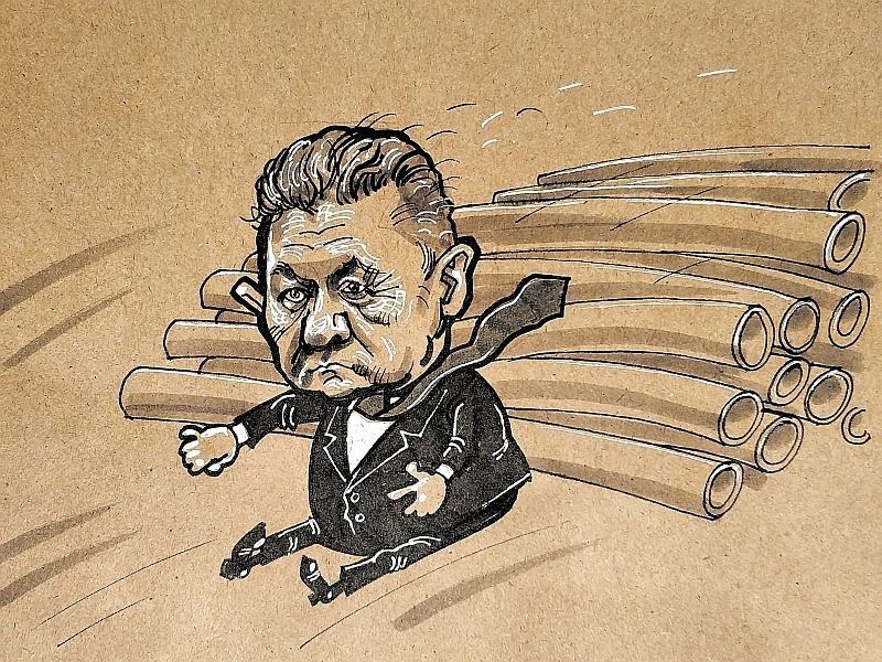 Карикатура на Алексея Миллера // рисунок: Камиль Бузыкаев