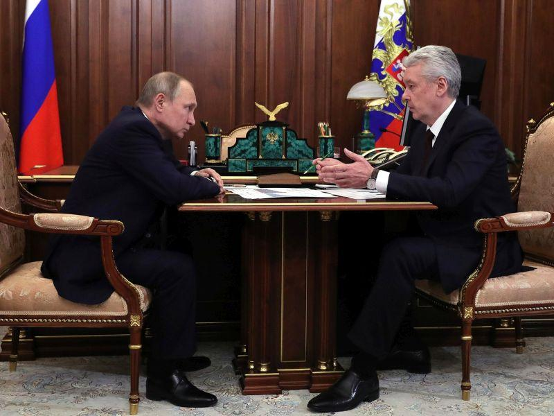 Сергей Собянин встречается с Владимиром Путиным, апрель 2018 года // фото: Kremlin Pool / Global Look Press