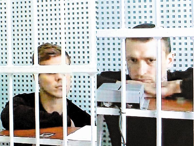 Кокорин и Мамаев на видео судебной трансляции
