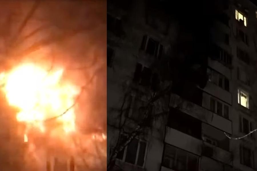 Слева: кадры пожара, справа: здание после ликвидации ЧП. Стоп-кадр / канал 360 на Youtube