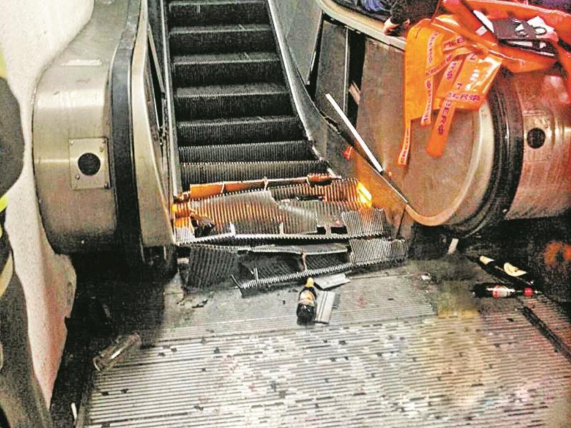Сломавшийся эскалатор на станции метро в Риме