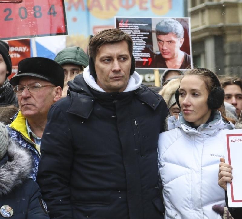 Дмитрий Гудков на марше памяти Бориса Немцова в Москве // Фото: Андрей Струнин