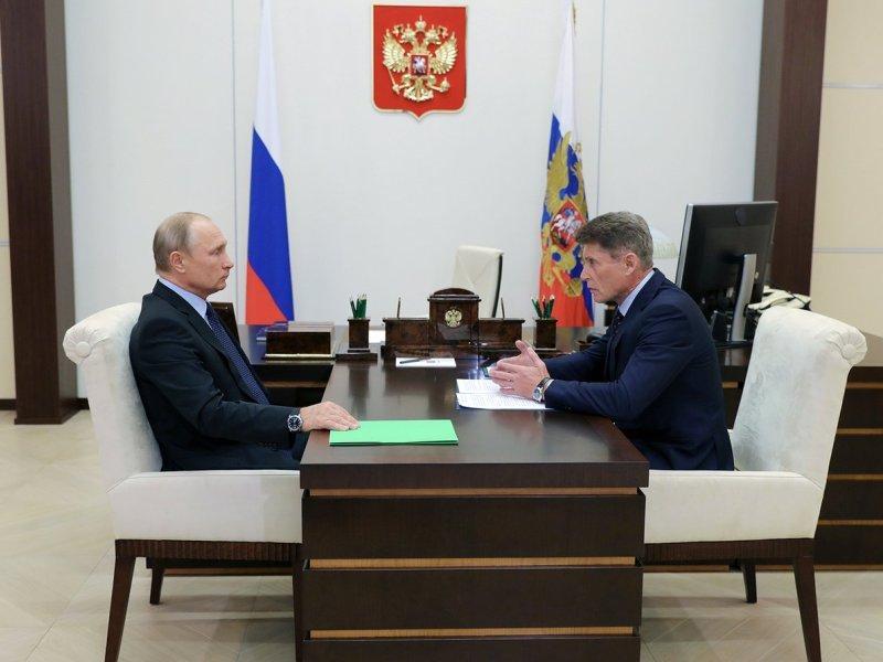 Олег Кожемяко на встрече с Владимиром Путиным 26 сентября // фото: Kremlin Pool / Global Look Press