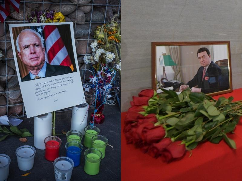 Слева: стихийный мемориал Джону Маккейну в Фениксе, Аризона // фото: Doug James / ZUMAPRESS.com / Global Look Press; справа: мемориал Иосифу Кобзону в Госдуме // фото: Komsomolskaya Pravda / Global Look Press