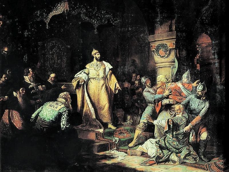 Шустов Н. С. Иван III свергает татарское иго, разорвав ханскую грамоту и приказав умертвить послов (1862)