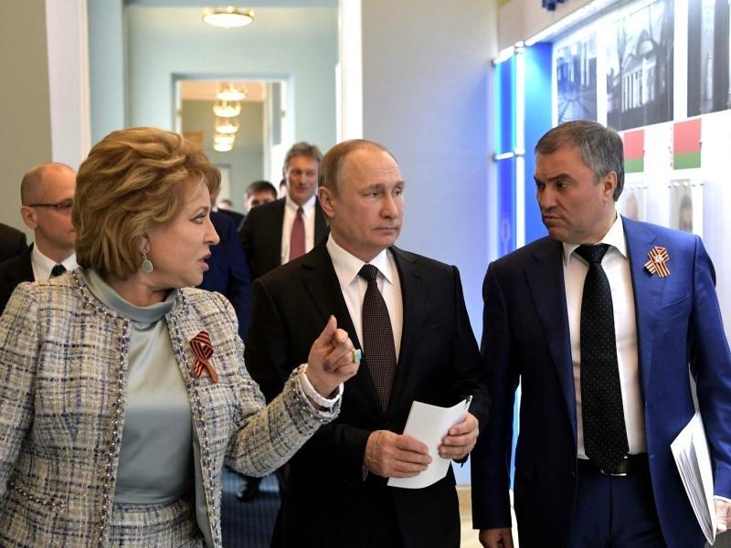 Валентина Матвиенко, Владимир Путин и Вячеслав Володин. Фото: Global Look Press